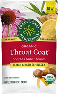 Traditional Medicinals Throat Coat Organic Pectin Throat Drops, Lemon Ginger Echinacea, Soothes Sore Throats, 16ct.