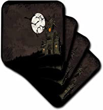 3dRose LLC cst_65452_2 Soft Coasters, Halloween Haunted House with a Moon and Bats, Set of 8