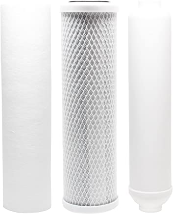 Replacement Filter Kit for Puromax PC4 RO System - Includes Carbon Block Filter,  PP Sediment Filter & Inline Filter Cartridge