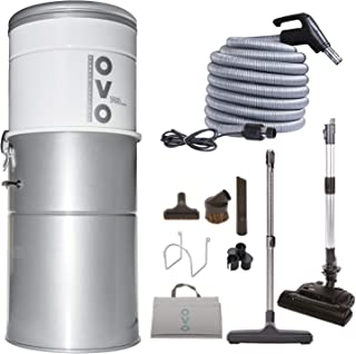 Best OVO Heavy Duty Powerful Central Vacuum System, Hybrid Filtration (With or Without disposable bags) 35L or 9.25Gal, 700 Air watts with 30 ft Carpet Deluxe Accessory Kit, Large Vac, Silver Review