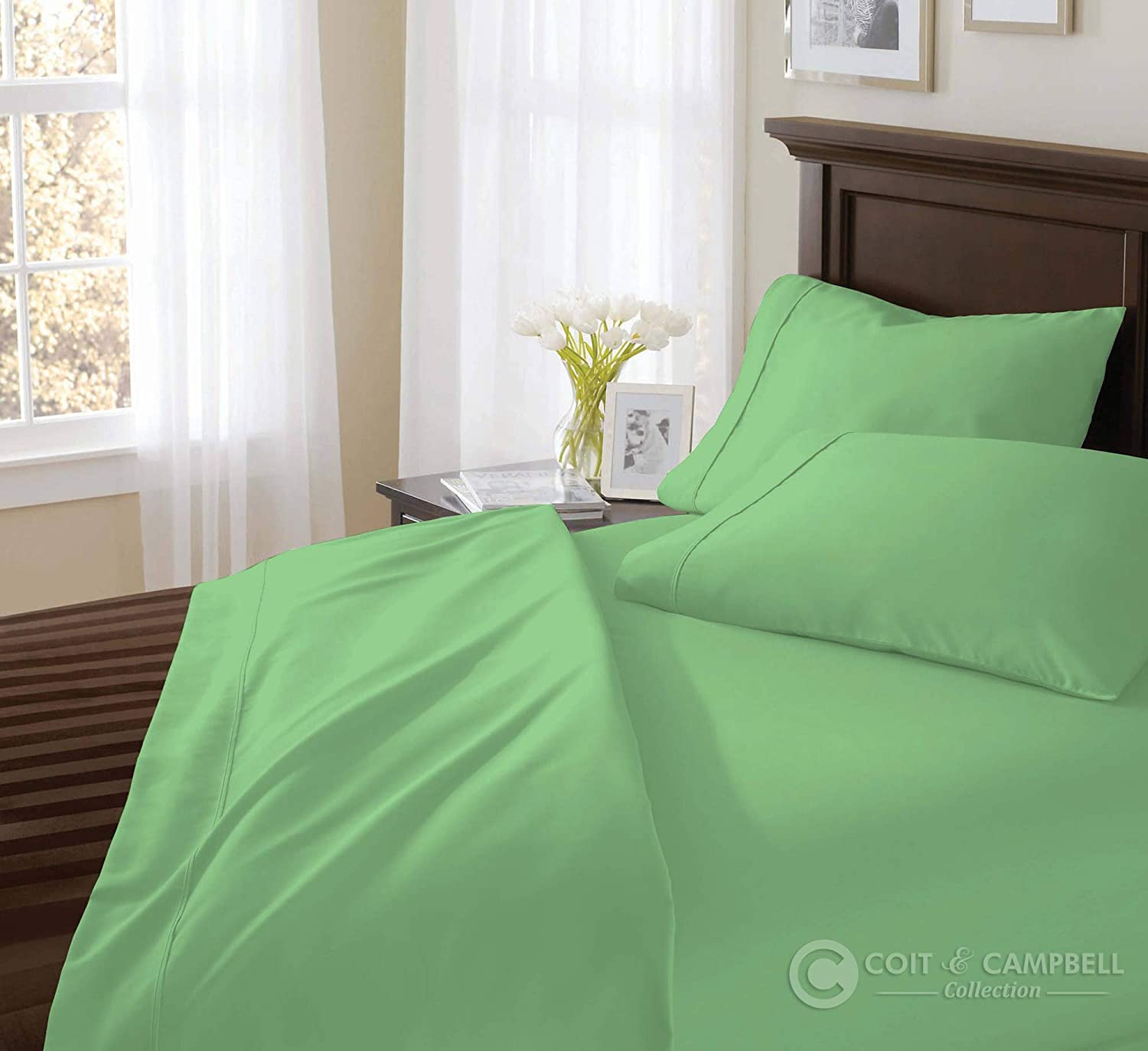500 Thread Count 100% Cotton Sheet Set (Sage Green, Full) 4 Pieces Sheet Set. Long Staple Combed Pure Natural Cotton Bedsheet, Soft & Silky Sateen Weave