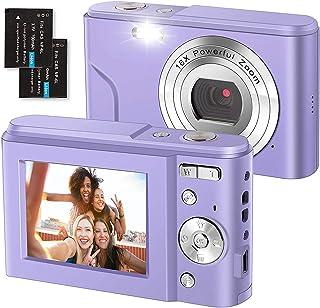 Digitalkamera 1080P FHD 2,4 Zoll Kompaktkamera, 36 Megapixel Fotokamera Mini Digital Camera mit 2 Batterien, 16X Digitalzoom Videokamera für Kinder, Erwachsene, Anfänger (Lila)