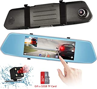 Mirror Dash Cam, 1080P 7 inch Dashboard Camera Recorder with Touch Screen, Front Rear View HD Camera, G Sensor, Reversing Camera, Night Vision, 170° Wide Angle Video Recorder [32G SD Card Include]