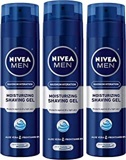 NIVEA Men Maximum Hydration Moisturizing Shaving Gel - For Dry Skin - 7 oz. Can (Pack of 3)