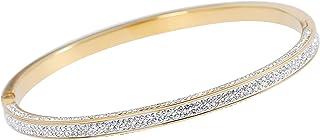 MOONSTONE Fashion Bracelet For Women Stainless Steel Elegant Three Sided Crystal Slim Band Hinged Clasp Bangle