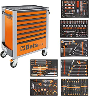 BETA Easy 400S-O8/E-XL 024002293 Carro de herramientas con 8cajones con surtido de herramientas de 384piezas, naranja