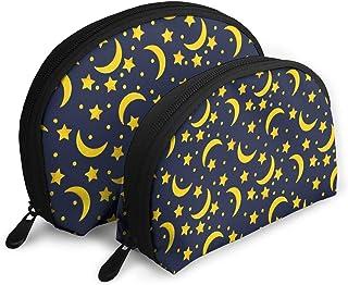 月と星 2点セットシェルポーチコスメ柄バッグ化粧ポーチがま口ペンケース小物入れ収納バッグ大容量小銭入れ 旅行かばん 化粧品バッグ