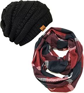 Plaid Print Winter Infinity Scarf and Beanie Hat Set, Navy and Wine