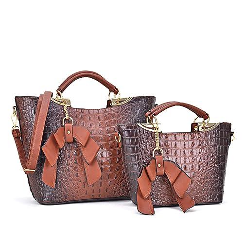 862e1afb6199 Large Leather 2 Pieces Set Handbag Top Handle Shoulder Bag Satchel Tote  Purse