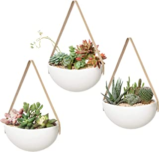 Mkono Ceramic Hanging Planter Wall Planters Set of 3 Modern Flower Plant Pots for Succulent Herb Air Plant Live or Faux Pl...