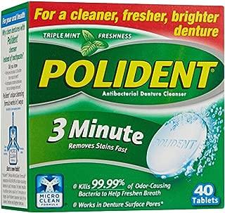 Polident 3 Minute Denture Cleanser Tablets, 40 ea