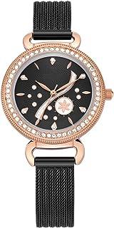 ساعة نسائية عصرية سوار كوارتز كاجوال للسيدات كوارتز ساعة معصم بحزام من الفولاذ المقاوم للصدأ (اللون: D)