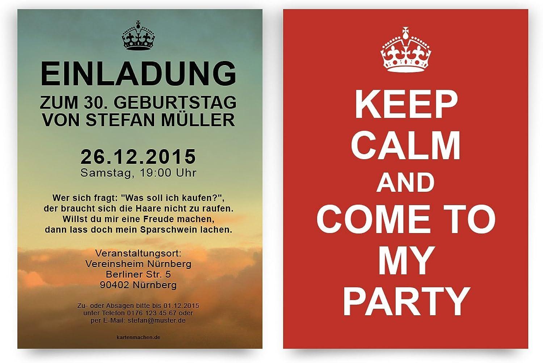 Einladungen (60 Stück) zum Geburtstag Keep Calm Calm Calm Party Einladungskarten B0168STD4Q | Reparieren  51df10
