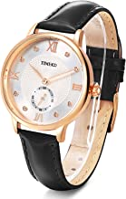 Time100 Womens Leather Band Watch Waterproof Analog Quartz Fashion Watch for Women/Ladies (Black Leather)