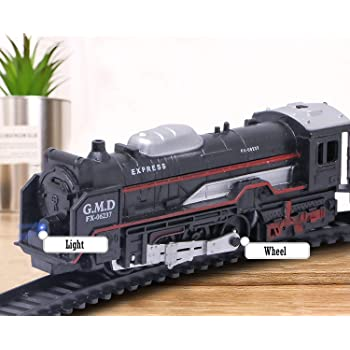 J S Battery Operated Black Train Toy Set for Kids, Big Size Train Set for Kids | Bump and Go Musical Toy Train