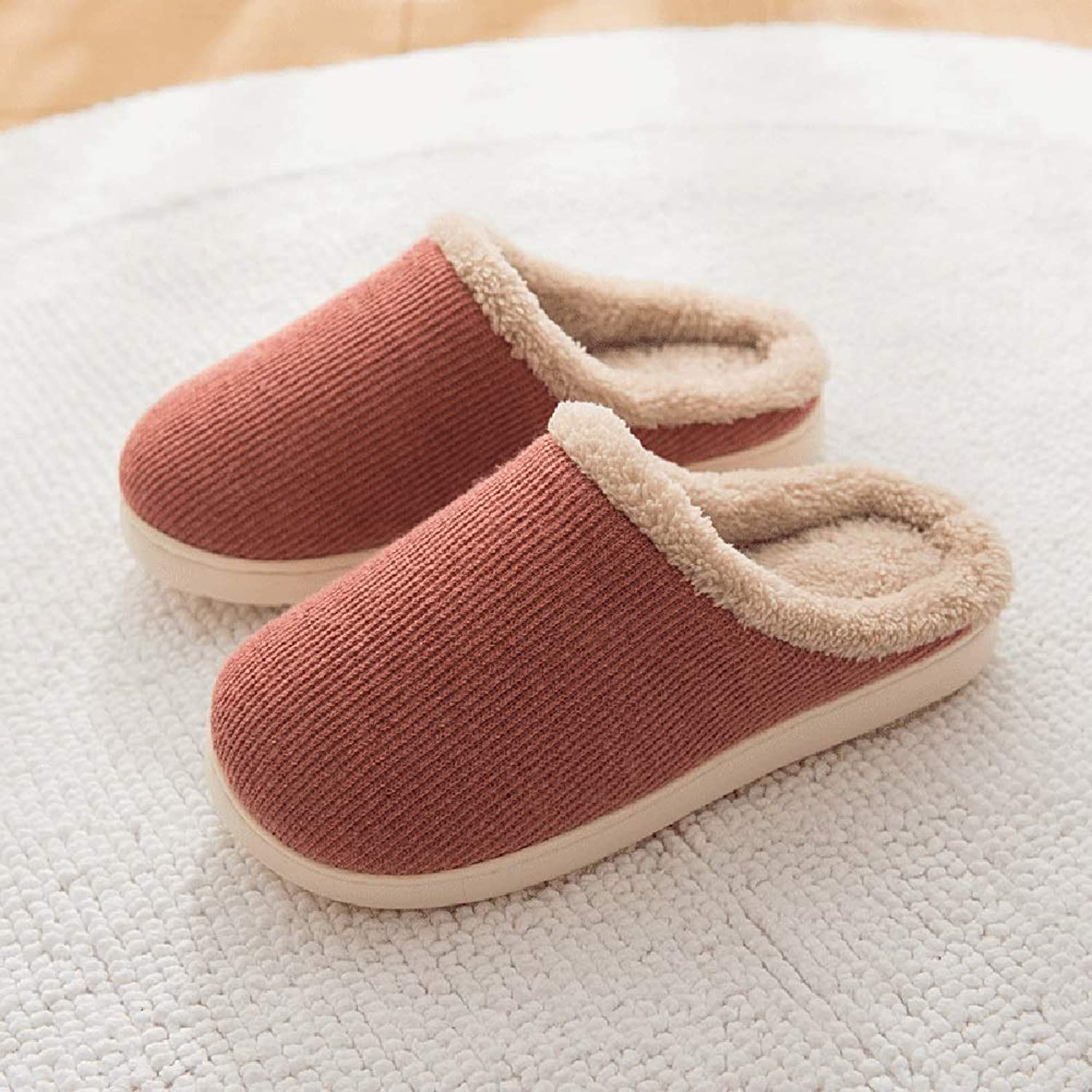 Cotton Slippers Japanese-Style Autumn and Winter Men and Women Indoor Keep Warm Short Plush EVA Light Non-Slip Wooden Floor Knitted Fabric Short Plush Lining (color   RED, Size   37-38)