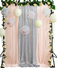 Silver Sequin Curtain 8.8ftx8ft Party Wedding Backdrop Light Peach Chiffon Photography Background Fabric Photo Backdrop Studio Background
