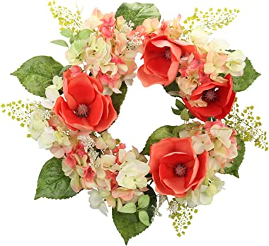 Cloris Art Wreath for Front Door, 22 Inch Artificial Magnolia Hydrangea Wreath for Home Office Wedding Party Holiday, Spring and Summer Farmhouse Decor (Red)