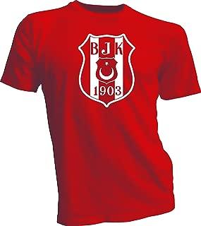 Besiktas JK Turkey Soccer T Tee Shirt UEFA Men's Red 3XL White logo