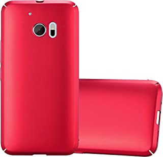 Cadorabo Case Works with HTC 10 (One M10) in Metal RED – Shockproof and Scratch Resistent Plastic Hard Cover – Ultra Slim Protective Shell Bumper Back Skin