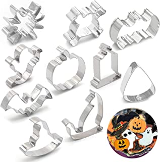 10PCS Halloween Cookie Cutters - Pumpkin,Witch Hat, Bat,Ghost,Cat,Tombstone,Spider, Skull,Candy Corn Party Decorations Trick or Treat Supplies