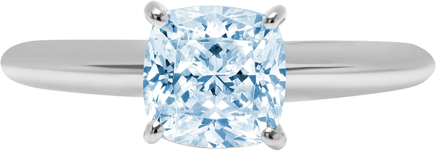 1.0 ct Brilliant Cushion Cut Solitaire Aquamarine Blue Simulated Diamond CZ Ideal VVS1 D 4-Prong Engagement Wedding Bridal Promise Anniversary Ring Solid Real 14k White Gold for Women