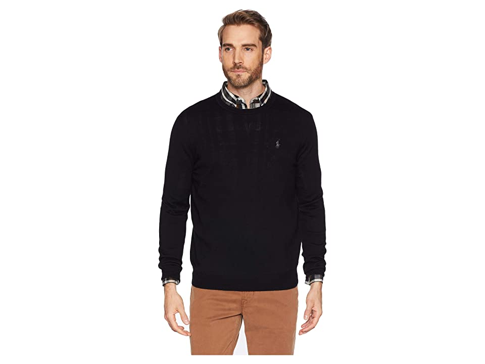 Polo Ralph Lauren Washable Merino Crew Neck Sweater (Polo Black) Men