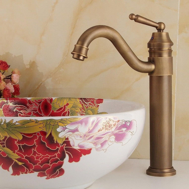ANNTYE Waschtischarmatur Bad Mischbatterie Badarmatur Waschbecken Schwenkbar Messing Einloch Retro Warmes und kaltes Wasser Antike Badezimmer Waschtischmischer