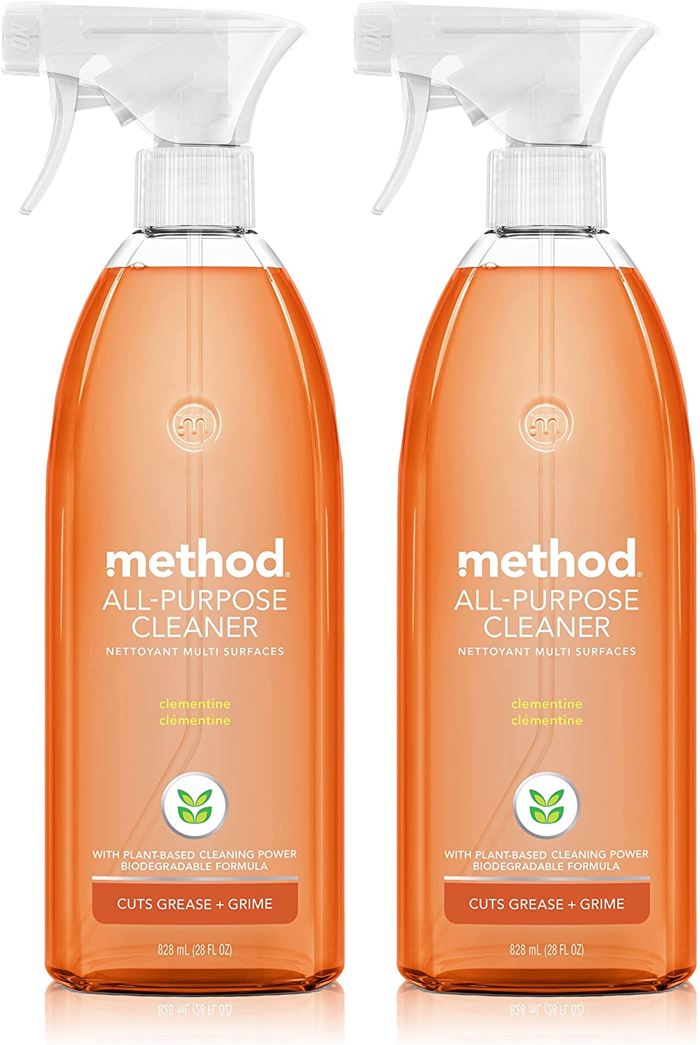 Method All-Purpose Cleaner Spray, Plant-Based and Biodegradable Formula Perfect for Most Counters, Tiles, Stone, and More, Clementine Scent, 828 ml Spray Bottles, 2 Pack, Packaging May Vary