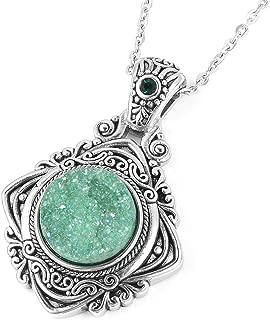 Vintage Statement Chain Pendant Necklace Round Green Drusy Quartz Crystal Black Oxidized Stainless Steel 20