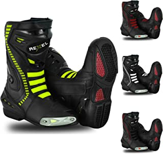 Green UK 10 Touring Boot for Mens Boy Profirst Global Motorbike Boots Motorcycle Waterproof Riding Shoes Short Ankle