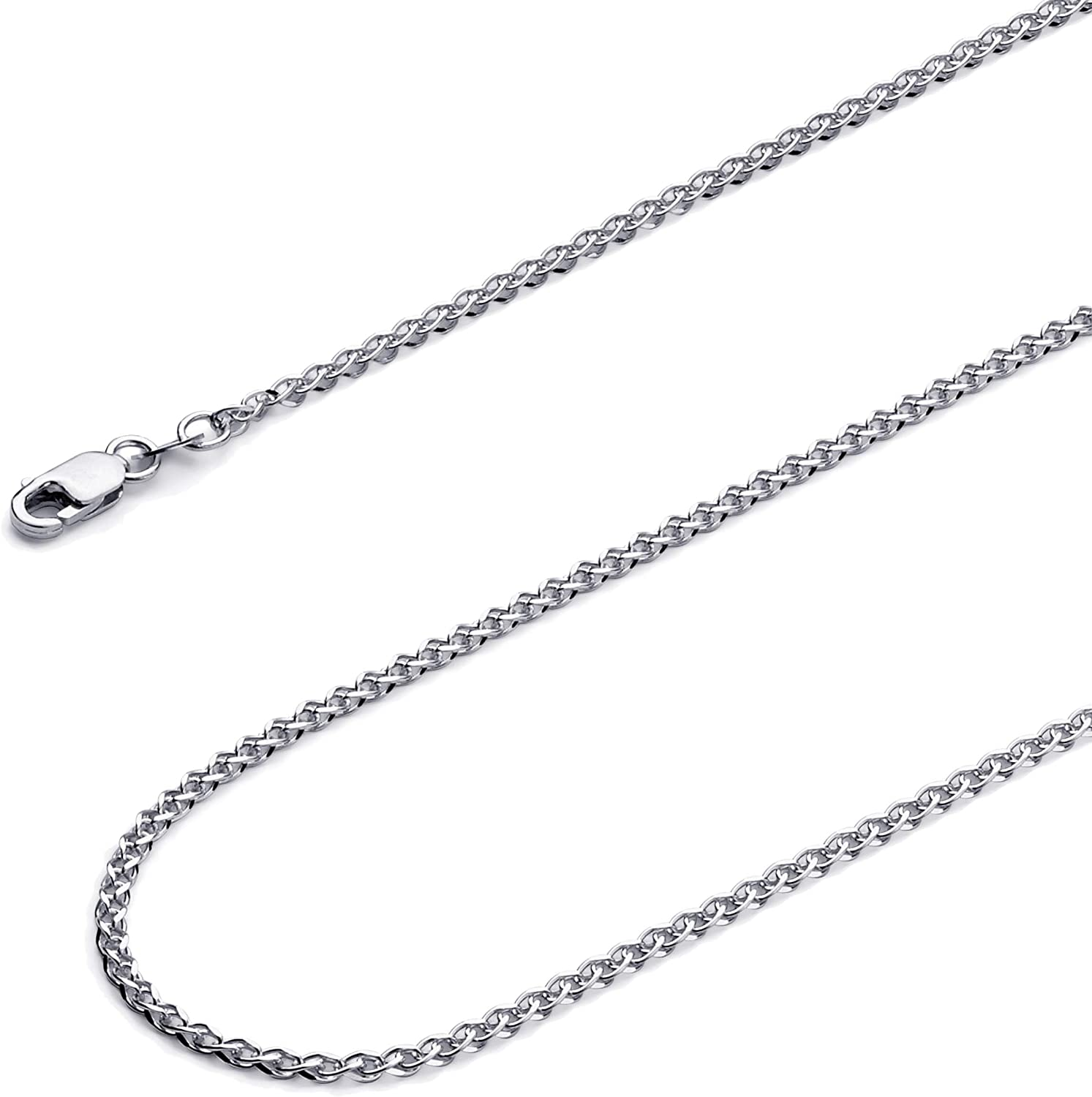 Wellingsale 14k Yellow and White Gold Polished Solid 2mm Flat Open Wheat Chain Necklace