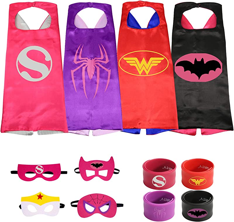 Munfa 4 Different Superheros Cape And Mask Costumes 4 Set Includes Bonus Matching Wristbands For Kids Multicolored Multicolored Girl Supergirl