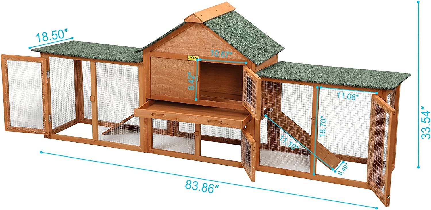 JAXPETY Large Rabbit Hutch Bunny Cage with Double Runs, Indoor Outdoor  Small Animal Pet Houses, Chick Coop Hen House for Bunny Guinea Pig Hamster  ...