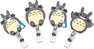 Finex Set of 4 My Neighbor Totoro Badge ID Clip Reel Retractable Holder Office Work Nurse Name Badge Tag Clip On Card Holders Cute - 30 inch Cord Extension Gray