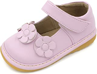 Little Mae's Boutique Squeaky Shoes | White, Brown, Black, Hot Pink Light Pink Three Flower Mary Jane Toddler Girl Shoes