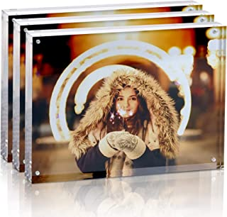 [8x10 / 30mm / 3pack] Acrylic Magnetic Photo Frames Super Clear Double Sided Frameless Picture Frame with Slightly Rounded...