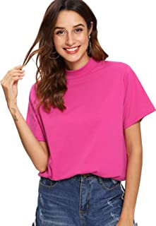 ROMWE Women's Casual Short Sleeve Loose Solid Basic T-Shirt Tops