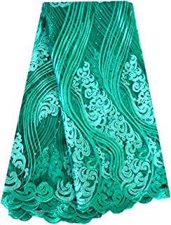 Fongbay 5 Yards African Lacey 2018 Bridal Latest Fabrics Embroidered and Rhinestones Guipure Cord Lace Wedding Evening Dress (Green)