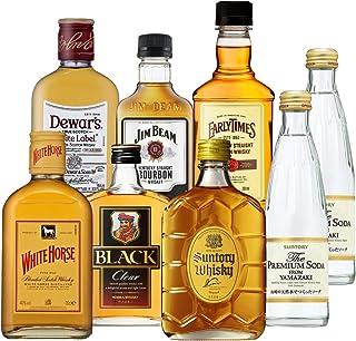 ウイスキー ミニボトル 6本 飲み比べセット 180ml~200ml×6本+山崎プレミアムソーダ付 ウイスキー whisky ギフト 御中元 デュワーズ ホワイトホース ジムビーム アーリータイムズ 角瓶 ブラックニッカ 長S