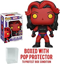 Funko Pop! Marvel: Red She-Hulk #231 SDCC 2017 Exclusive Vinyl Figure (Bundled with Pop BOX PROTECTOR CASE)