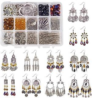 SUNNYCLUE 600+ Pcs 15 Pairs Tibetan Antique Silver Chandelier Bohemian Circle Long Sequins Tassel Feather Charm Pearl Bead...