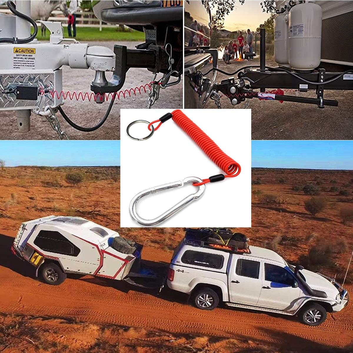 Malloryx 6 Breakaway Trailer Cable with Pin Trailer Brake Cable RV Stainless Steel Spring Towing Coiled Wire Safety Straps Ground Clip,for Breakaway Switch