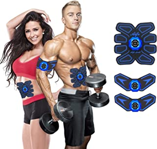 YOMYM Stimulator Muscle Toner Rechargeable Muscle Trainer Ultimate Abs Stimulator for Men Women Abdominal Work Out Ads Pow...