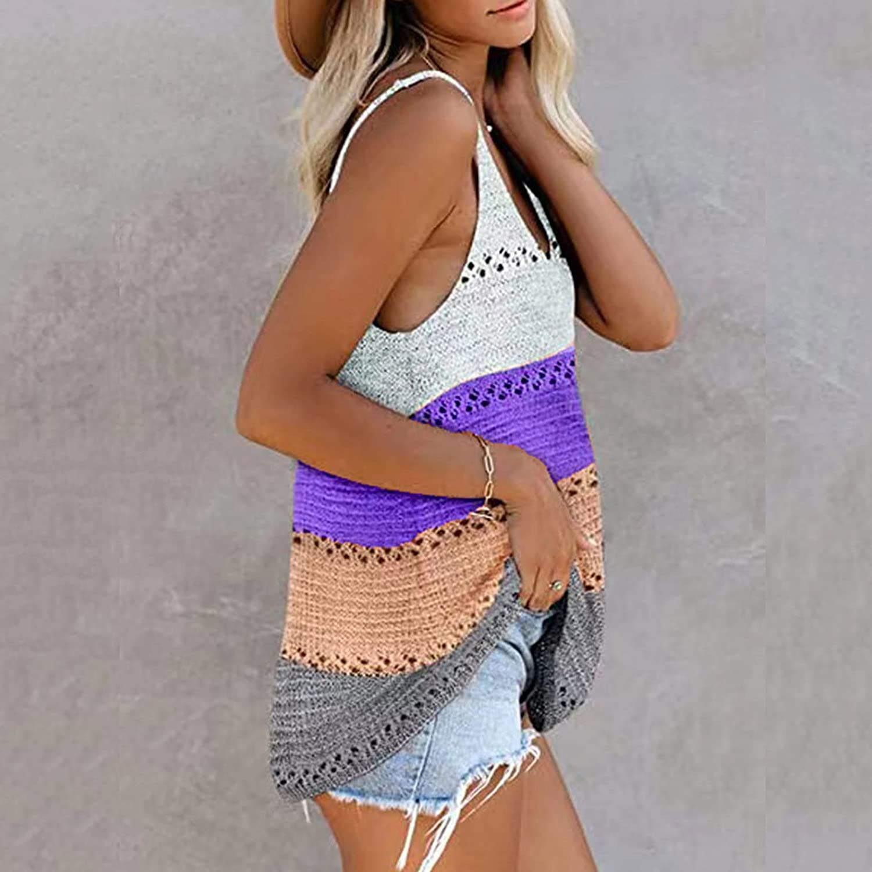 Womens Knit Tank Tops Color Block Sleeveless Tops Scoop Neck Tee Summer Crop Tops for Women