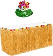 JZK Falda de Mesa Luau Hawaiana con Hojas de Palma y Flores Hawaianas Artificiales para decoración Mesa de Fiesta temáticas Tropical para Fiesta Moana Tiki cumpleaños Navidad Boda Accesorios