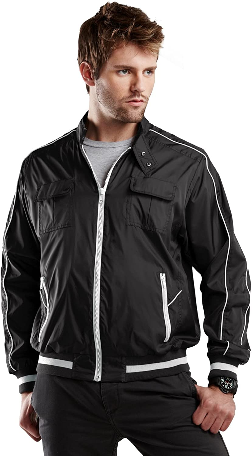 Big Size Jacket, Extra Pockets, Zipper Front 2 Chest Pockets in Black 3X and 4X