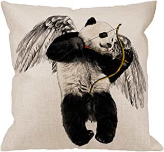 HGOD DESIGNS Panda Pillow Cover,Decorative Throw Pillow panda Angel with Wings and Bow..