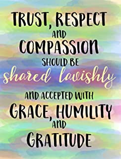 Trust Respect Compassion Gratitude Motivational Inspiring Positive Posters For Teacher Classroom Office Counselor Wall Art