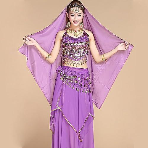 Wanson Professionnel Lady Belly Dance Costumes Jeux Indiennes Robe De Danse Perforhommece Robe De Danse Nationale Violet 5 Pièces Ensemble